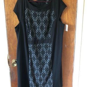 Damask Colorblock Sleeveless Plus Size Dress